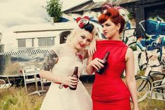 #beer #WomenDrinkingBeer #badass #body modification #rockabilly #inked #redhead #victory rolls #fashion #make up #vintage #like a boss #friends #white #girls #love #photography #pinup #style #red #retro #tattooed #50's #trends