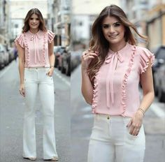 like the frills and bow on this! Maybe in a darker or brighter color? Blouse Styles, Blouse Designs, Modest Fashion, Fashion Dresses, Cool Outfits, Casual Outfits, Mein Style, Outfit Trends, Western Outfits