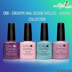 CND Creative Nail Design Shellac Power Polish Aurora Collection Set Of 4:  Aurora Collection Includes: 0.25 oz 73 mL Each * Nordic Lights * Winter Glow * Tundra * Glacial Mist