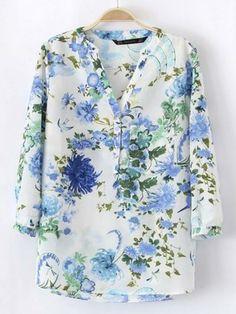 Blue Vintage Floral Print Pattern Blouse in V Neck with Pockets