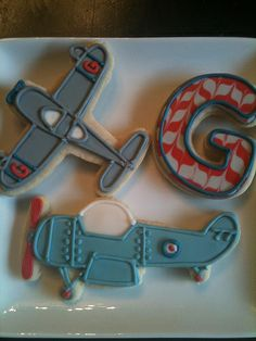 Airplane Cookies~           By Calley's Cookie Jar, Blue, grey