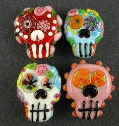 Sugar Skull Halloween Day of the Dead Set 4 Lampwork Beads  -  Palmtree Queen