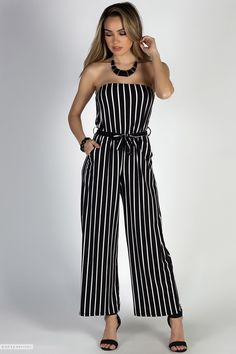 f7094e0bdedd6 Belted Strapless Black   White Striped Jersey Wide Leg Jumpsuit with  Pockets Striped Dress Outfit