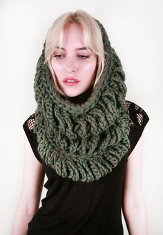Tiered Chain Cowl Scarf  in Moss Green Heather 100 by LuluandLoie, $70.00