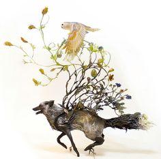 Ellen Jewett surrealist animal sculptures November 2015 (featured on Colossal) animal stack