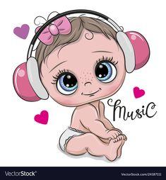 baby cartoon Cartoon baby girl on a hearts background Vector Image Baby Cartoon Drawing, Baby Girl Drawing, Cute Cartoon Girl, Cartoon Drawings, Cute Drawings, So Cute Baby, Cute Babies, Clipart Baby, Cartoon Kunst