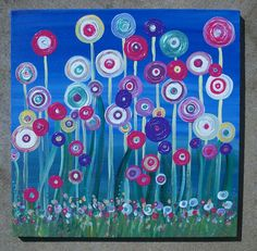 Reserved Abstract Flowers Original Acrylic on 12x12x1 Canvas