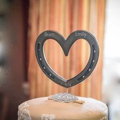 Wedding cake topper, real Horseshoe Heart, can be engraved w/ date, name, initials. Country theme