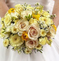 Yellow and cream color floral bouquet