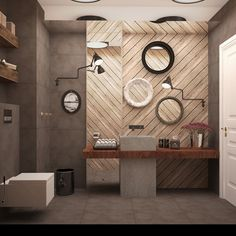 wooden bathroom on Behance