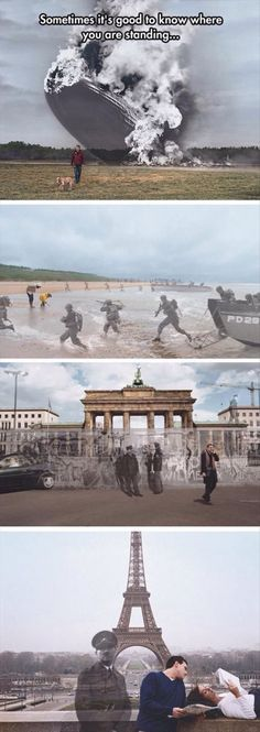 """This is awesome! History Channel """"Know Where You Stand"""" campaign by Seth Taras - Hindenburg at Lakehurst, New Jersey 1937 / D-Day at Normandy Beach 1944 / Berlin Wall at the Brandenburg Gate 1989 / Hitler at the Eiffel Tower, Paris 1940 / 2004 Zeppelin, Weird Facts, Fun Facts, Montage Photo, Interesting History, History Facts, Funny History, History Memes, History Photos"""
