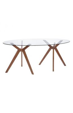 Buena Vista Dining Table Walnut - 100090Description :Splayed legs and oval glass give the Buena Vista Table a mod feel. Has a handsome walnut color finish. It's a lovely foil for mid-century chairs.Features:-Color :WalnutProduct Cover (Upholstery Material or Type of Metal) :Tempered GlassProduct Finish (Structure Materiel or Type of Wood) :RubberwoodDimensions :Dining Table : 78.7