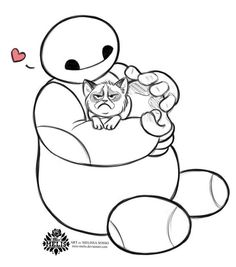 Baymax From Big Hero 6 And Grumpy Cat By Melissa Sosso For Sketch Dailies