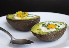 Paleo-Powered Breakfast: Eggs Baked in Avocado: Bake at 425F for 15 to 20 minutes.
