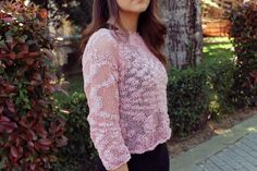 Women's knit top, lace knit sweater, hand knitted cotton top by AlkistiKnits