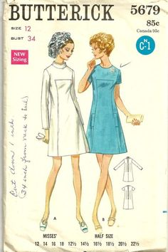 Butterick 5679 1960s Misses Jewel Neck A Line Dress Pattern Womens Vintage Sewing Pattern by patterngate.com