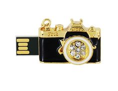 JMC097 8GB Camera Shaped USB Flash Drive with Jewelry Surface (Black)$17.99