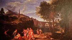 JEAN FRANCOIS MILLET  ( Anversa 1642 - Parigi 1679 ). PAESAGGIO CON RITROVAMENTO DI MOSÈ. olio su tela. 90 × 130,5 cm. Berlin. Staatliche Museum Gemaldegalerie. Inv. No. 1899.