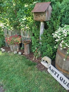 Using chunks of wooden fencing mixed with birdhouses