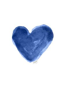 Indigo Heart Watercolor Art Print 8x10 by OutsideInArtStudio, $18.00