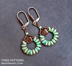 Free pattern for earrings Sanremo with tila and superduo U need: seed beads 11/0 seed beads 15/0 seed beads 8/0 czech tila beads super duo beads