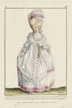"""""""Deshabillé de taffetas blanc, bordure de taffetas rose chiné, soulier rose bordé de verd anglais à rosettes, mantelet de taffetas blanc garni de gaze de fantaisie, bonnet négligé, le ruban rose tigré sur un chien couchant à 2 grosses boucles"""", Gallerie des Modes, 1779; MFA 44.1419"""