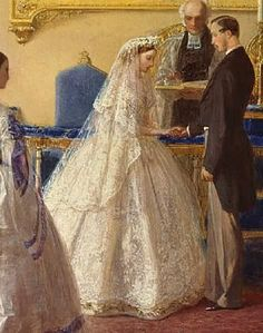 Portrait of Princess Alice, [Grand Duchess of Hesse] on her wedding day in 1862 to Prince Louis IV [Grand Duke Ludwig IV of Hesse & by Rhine of the German Empire] -- by George Housman Thomas. Queen Victoria Children, Queen Victoria Prince Albert, Royal Brides, Royal Weddings, Wedding Art, Wedding Gowns, Reine Victoria, Marie, Costume