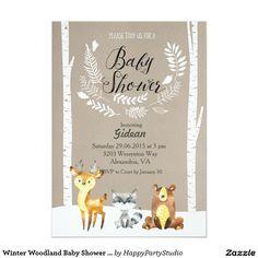 Woodland creatures shaped baby shower invitations woodland winter woodland baby shower invitation filmwisefo