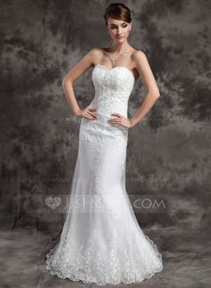 Trumpet/Mermaid Sweetheart Court Train Satin Tulle Wedding Dress With Lace Beading (002015010)