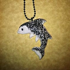 Doodle Art Salmon Fish Necklace Polymer Clay Jewelry by Freeheart1