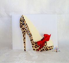 Leopard Print Platform High Heel Shoe Blank Card