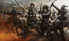 The centauran army in the Battle of Fellstooth Crypt.  (Centaurs Fantasy Art by Lu Hua)