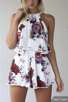 Random Floral Print Halter Neck Playsuits