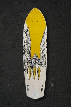 Skateboard illustration by Serio Collective. Prototype for a series of 12 skateboard decks, screen printed by hand in a limited edition. available to order on Kickstarter. Charcoal drawing, cityscape, Buenos Aires neighbourhood Milan