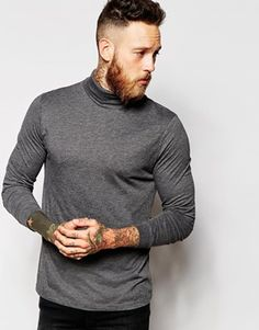 ASOS Long Sleeve T-Shirt With Roll Neck In Grey