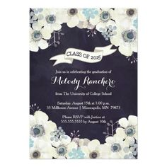 This graduation announcement / party invitation has a midnight blue, plum purple, and gray floral design with gray text.  The text can be personalized by you!