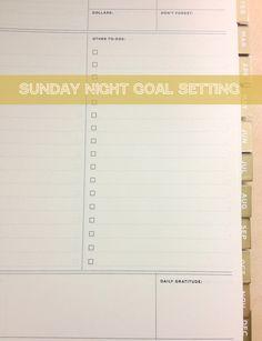 Sunday Night Goal Setting