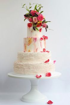 The always impressive Maggie Austin shows off her signature ruffles on this floral cake that looks stunning on a White Wedding Picture Perfect cake stand. This cake stand is available in & 18 inch diameters. Buy this cake stand now Amazing Wedding Cakes, Wedding Cake Stands, Amazing Cakes, Cake Wedding, Wedding Cupcakes, Pretty Cakes, Beautiful Cakes, 16 Inch Cake Stand, Painted Cakes