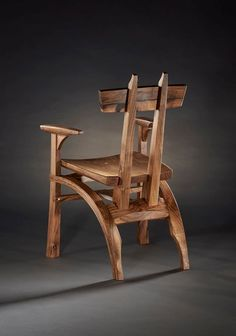 English walnut chair designed and built by Brian Hubel