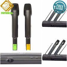 Microphone Wireless System Dual Handheld VHF Receiver Cordless Sing Karaoke Mics