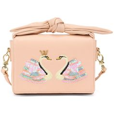 Bow Sequins Swans Crossbody Bag (£51) ❤ liked on Polyvore featuring bags, handbags, shoulder bags, pink bow purse, red purse, red handbags, cross-body handbag and pink sequin purse