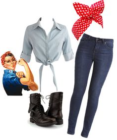 Rosie the Riveter costume Halloween Looks Rockabilly, Mode Rockabilly, Rockabilly Dresses, Throwback Outfits, 50s Outfits, Rave Outfits, Easy Costumes, Cute Halloween Costumes, Nerd Costumes