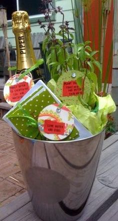 DIY bridal shower gift for the couple that has everything: Ice bucket or colander of Champagne – toast often to everything you are grateful for; Note Cards – love notes are cool; Basil or other plant – plant things together and watch them grow. Gift Baskets For Women, Diy Gift Baskets, Bridal Shower Gifts, Baby Shower Gifts, Bridal Showers, Bridal Gifts, Shower Baby, Baby Showers, Craft Gifts