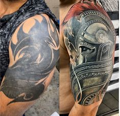Tribal Tattoo Cover Up, Best Cover Up Tattoos, Tribal Arm Tattoos, Black Ink Tattoos, Cover Tattoo, Tiger Tattoo Sleeve, Geometric Sleeve Tattoo, Tattoo Sleeve Designs, Sleeve Tattoos