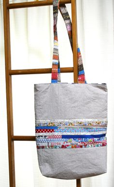 Summer tote with linen and cotton vintage inspired par Namoo