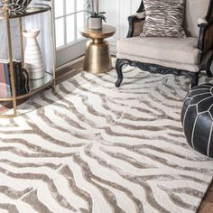 Andrew Charles Snow Leopard Collection Zebra Beige Area Rug (8' x 10')   Overstock.com Shopping - The Best Deals on 7x9 - 10x14 Rugs