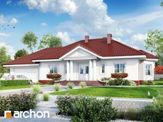 One story house project by archon.pl, building area m 2 One Story Homes, 2 Story Houses, Cabin Homes, Home Projects, House Plans, Villa, Mansions, House Styles, Building