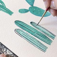 "6,863 Likes, 64 Comments - Philip Boelter (@boelterdesignco) on Instagram: ""Sundays are for cactus doodles. #art #artist #sketch #watercolor #illustration #drawing…"""