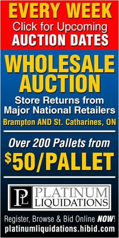 Wholesale Auctions by Platinum Liquidations Our live auctions are filled with pallets containing samples and store returns from major national retailers. All auction lots start at just $50 and online pre-bidding available about a week before the live auction takes place. Auction lots contain anywhere from 1 to over 1000 pieces of merchandise valued anywhere from $100 to well over $10,000.