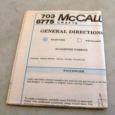 Never  Used Vintage McCalls Pattern 8775 by lovelylovedesigns, $5.99